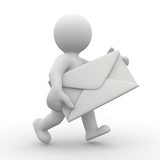 Fototapety 3d postman with big envelope in hands