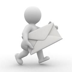 3d postman with big envelope in hands