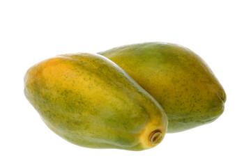 Isolated image of Malaysian papayas.
