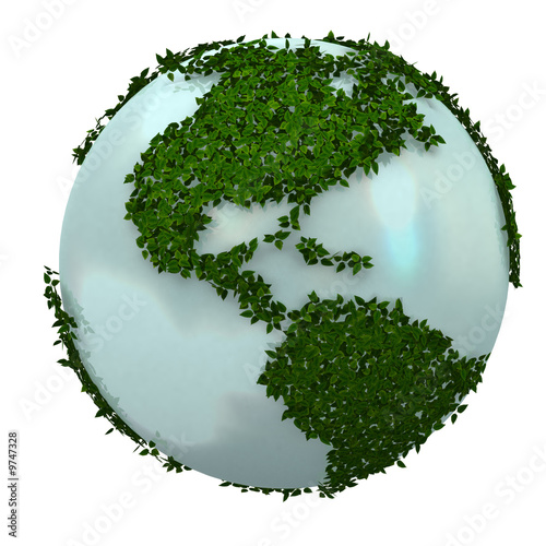3d blue earth made by plants