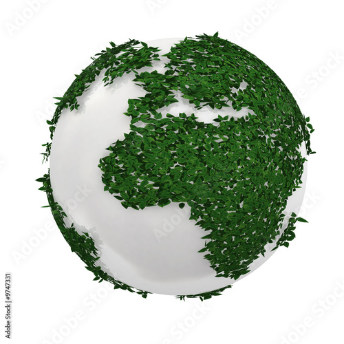 3d white earth made by green plants