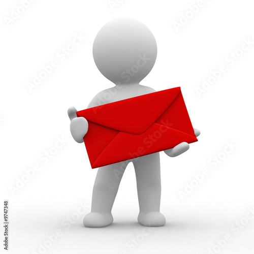 3d postman with big red envelope