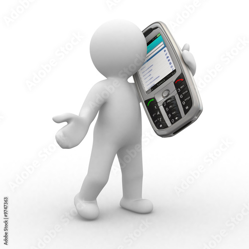 3d human talk with big mobile phone