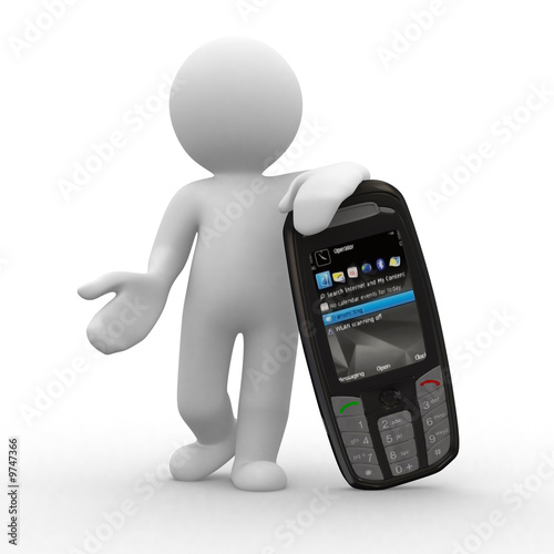 3d human with big mobile phone