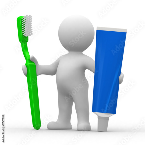 3d human with toothbrush and toothpaste