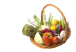 Isolated image of mixed vegetables in a basket.