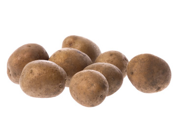 Isolated image of baby potatoes.