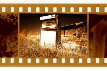 old 35mm frame photo with american retro gas station