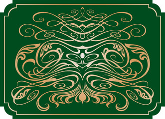 monogram on a green background