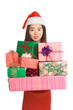 Chinese woman holding stack of Christmas presents