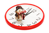 Toy snowball and clock on a white background poster
