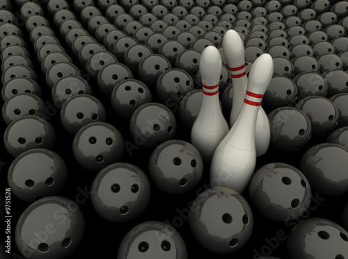 3 bowling pins surrounded in a sea of bowling balls