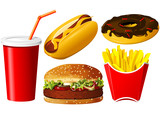 Fast food icon set poster