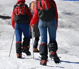 backs of people climbing mountain