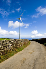 A powerful wind Turbine generating clean renewable energy.