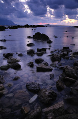 sicily coast at sunset in a rainy day