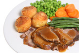 Sunday roast dinner with lamb, vegetables and gravy poster