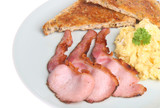 Grilled back bacon with scrambled egg and toast poster