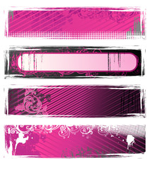 Set of pink and white grunge floral banners
