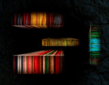 Striped Color Subjects On The Black Background poster