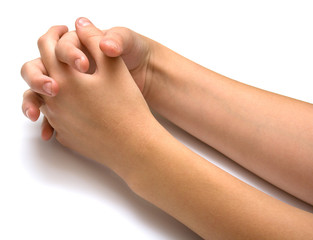 Two female hands on a white background. Isolation.
