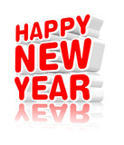 Fototapety Happy new year, three dimensional sign on white