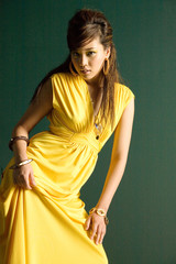 Beautiful asian woman in stylish dress