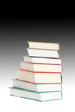 Isolated books standing on gradient background poster