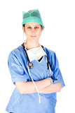 Attractive female nurse in scrubs with stethoscope poster