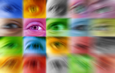 Multi color human eyes concept with focus on one individual