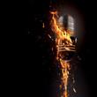 Leinwandbild Motiv Fiery microphone
