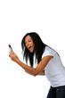 Junge Frau hat Freude mit SMS Nachricht
