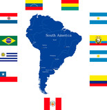 Abstract map of south america continent with countries flags poster