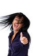 Gratulation einer jungen lachenden erfolgreichen Frau
