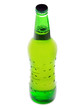 Green beer bottle isolated over white background