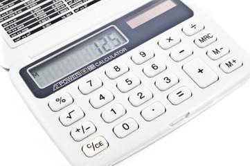 grey digital calculator isolated on white