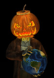 3D render of a Jack O Lantern Zombie holding an Earth globe. poster