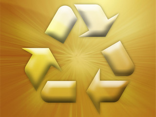 Recycling eco symbol illustration on abstract design