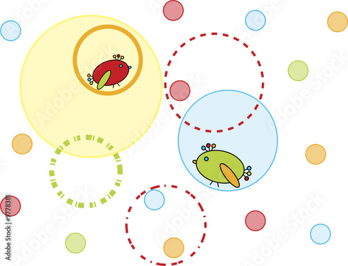 Obraz Circleas and two birds abstract background