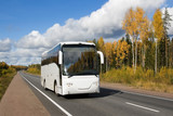 tourist bus, autumn, highway Scandinavia - Fine Art prints