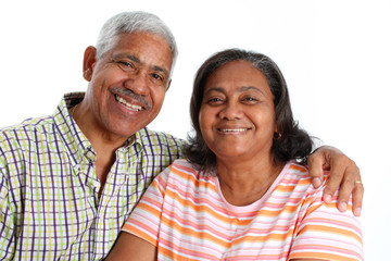Senior Minority Couple Set On A White Background