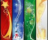 Fototapety Four christmas different vertical banners.