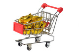 Gold ingots in trolley isolated on white background. poster
