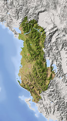 Albania. Shaded relief map, colored for vegetation.