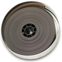 film reel in a canister on white