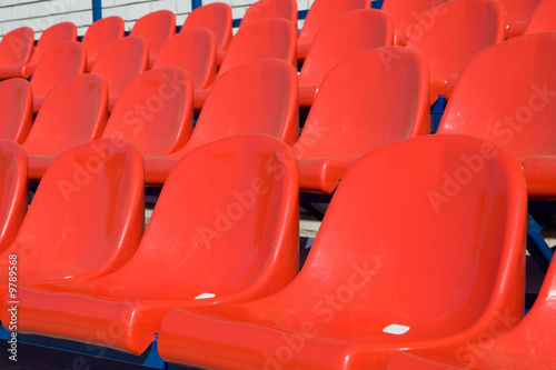 close-up of the seats on the grandstand