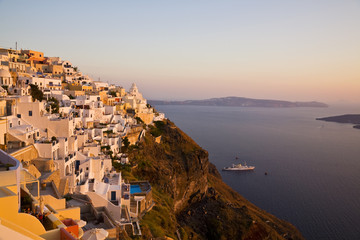 Sunset light over Santorini, Greece