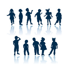 Kids vector silhouettes