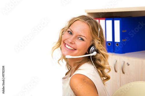 beautiful and happy call center operator at the office