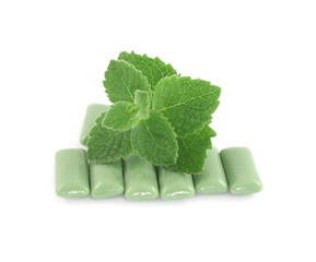 mint and buble gum isolated on white